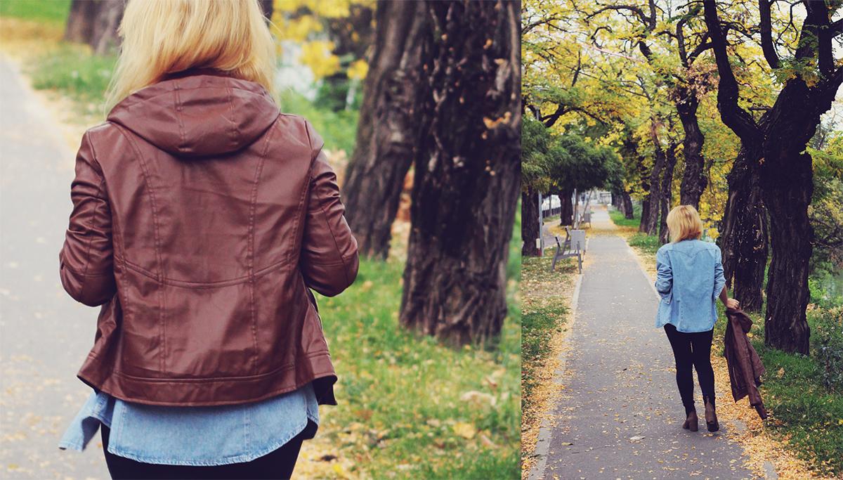 autumn bohemian chic, denim shirt, jeans, boots, leather jacket