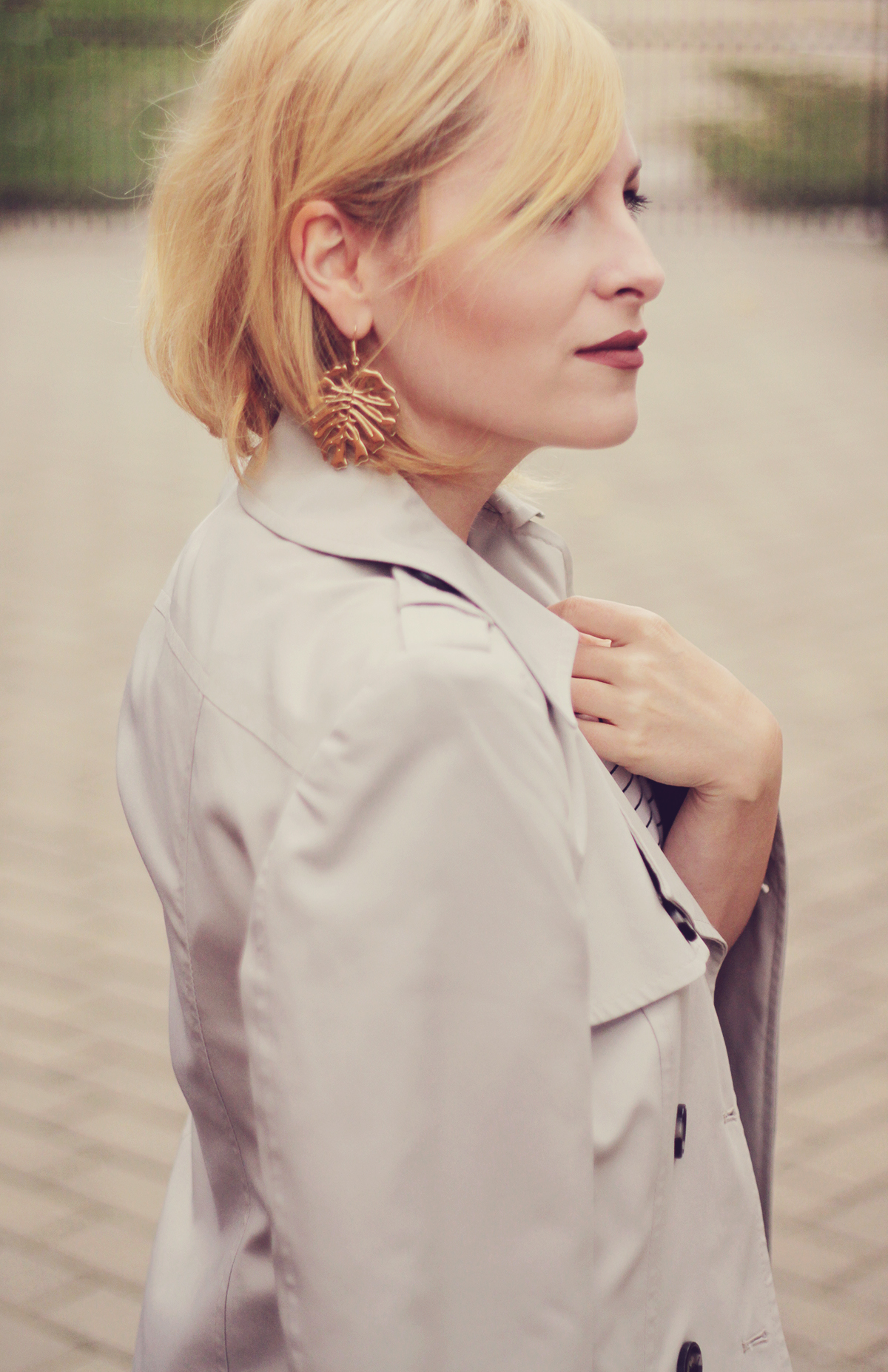 office classic look, short trench, stripe top, tropical leaf earrings