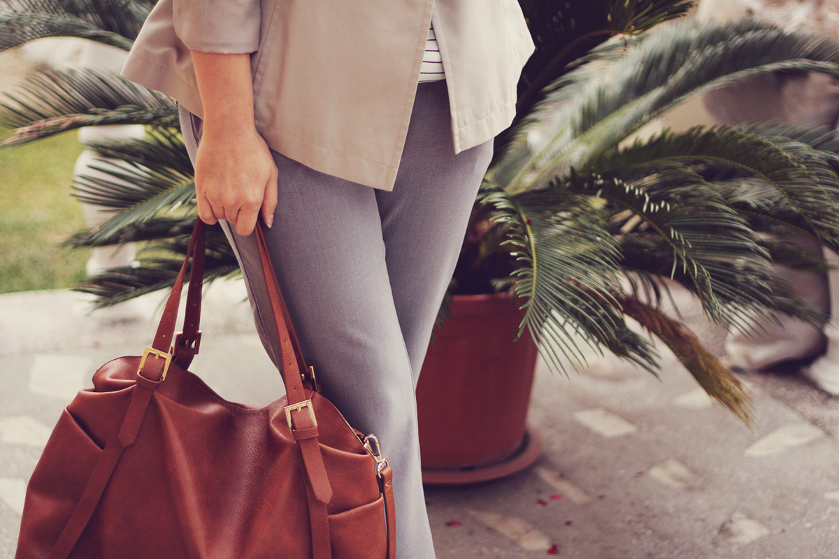 office classic look, short trench, stripe top, brown bag, grey pants