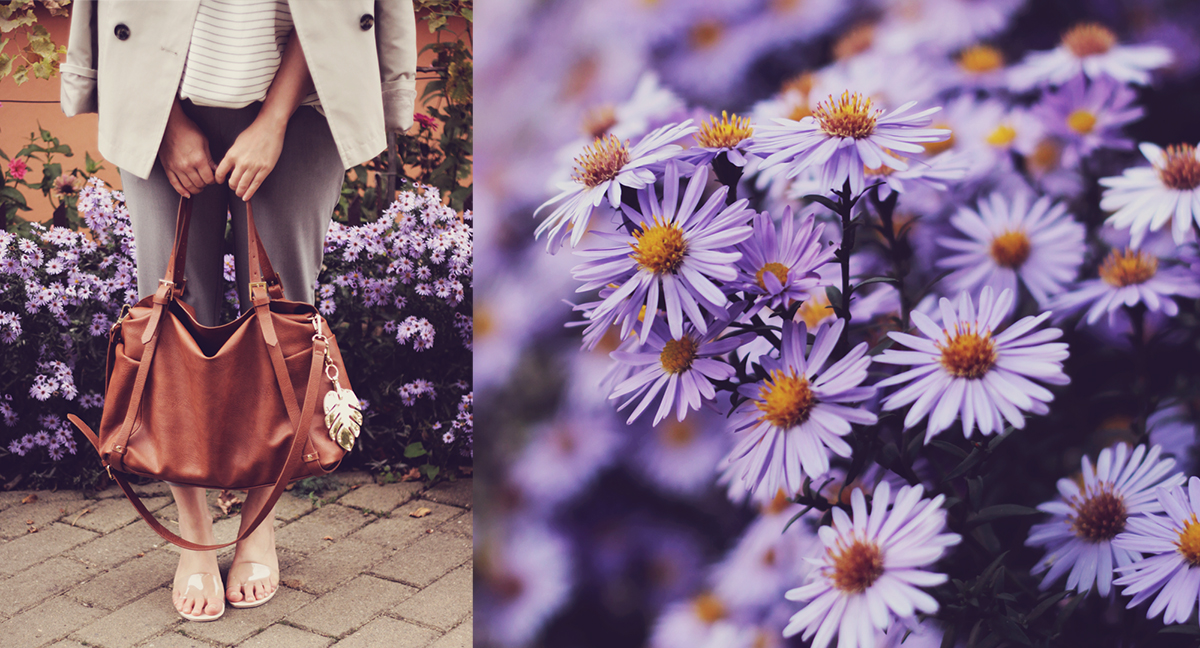 office classic look, short trench, stripe top, transparent kitten heel slippers, brown bag, grey pants, tropical leaf keyring, blue flowers
