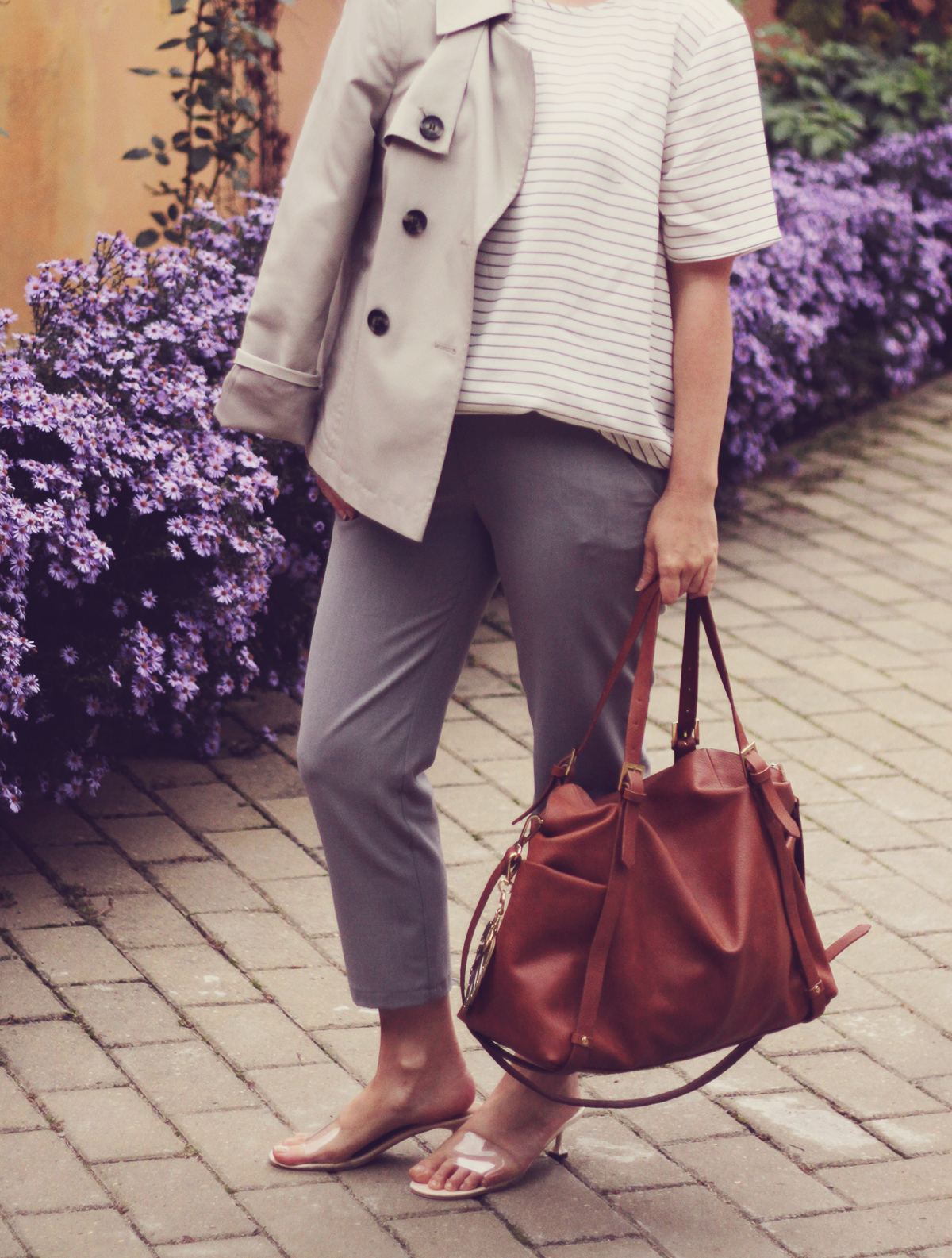 office classic look, short trench, stripe top, transparent kitten heel slippers, brown bag, grey pants, tropical leaf keyring