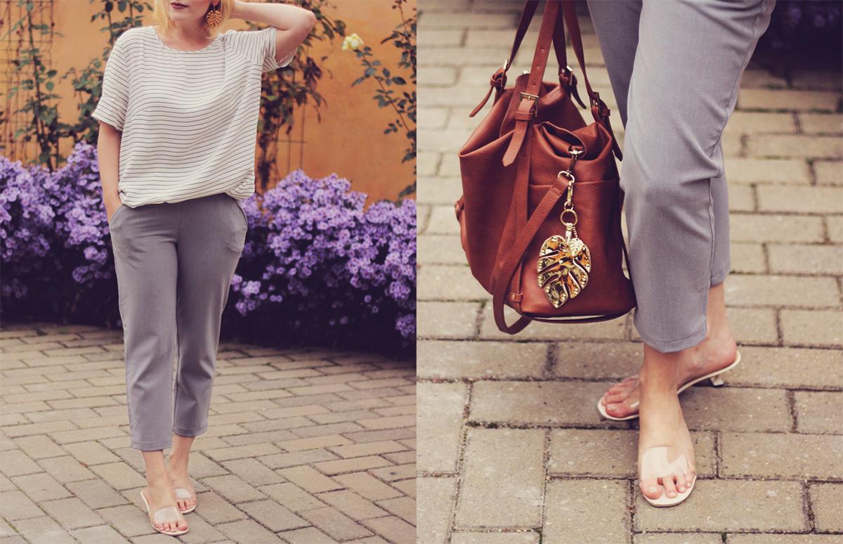 office classic look, short trench, stripe top, transparent kitten heel slippers, brown bag, grey pants, tropical leaf keyring, tropical leaf earrings