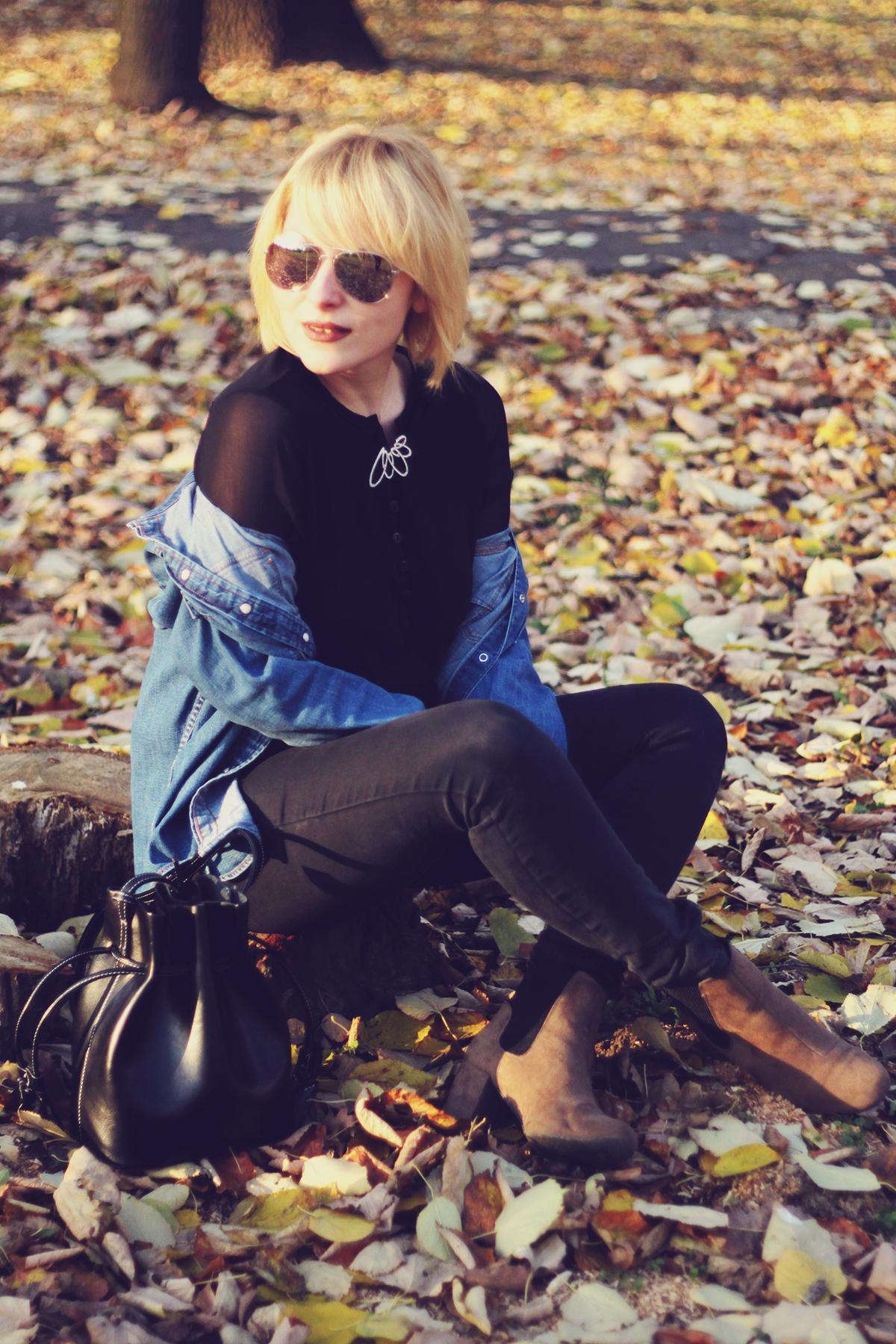 autumn, denim shirt,swarovski vintage brooch, jeans, boots, fashionmia black top, bucket bag, aviator mirror sunglasses, blonde bob