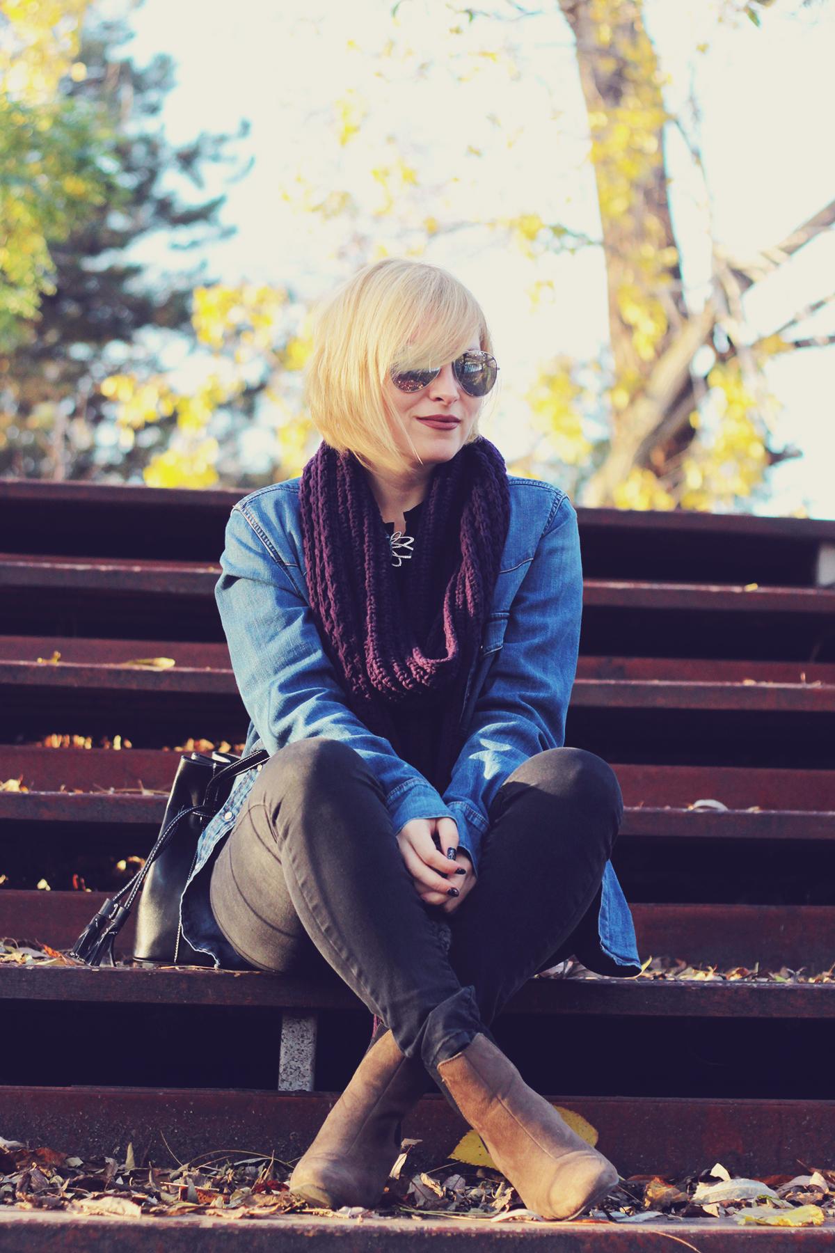 autumn, denim shirt, swarovski vintage brooch, jeans, boots, fashionmia black top, knitted scarf, bucket bag, aviator mirror sunglasses, blonde bob
