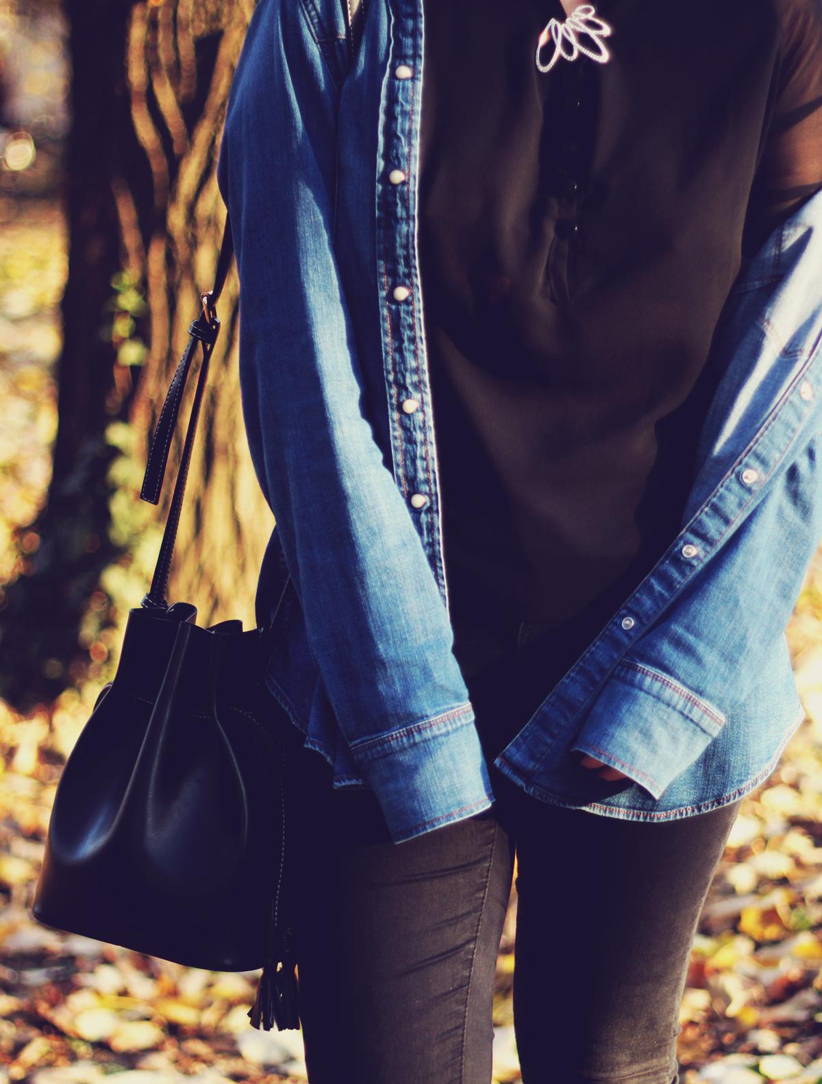 autumn, denim shirt, swarovski vintage brooch, jeans, fashionmia black top, bucket bag
