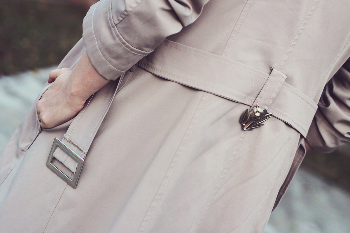 long trench coat, kenzo jungle vintage brooch