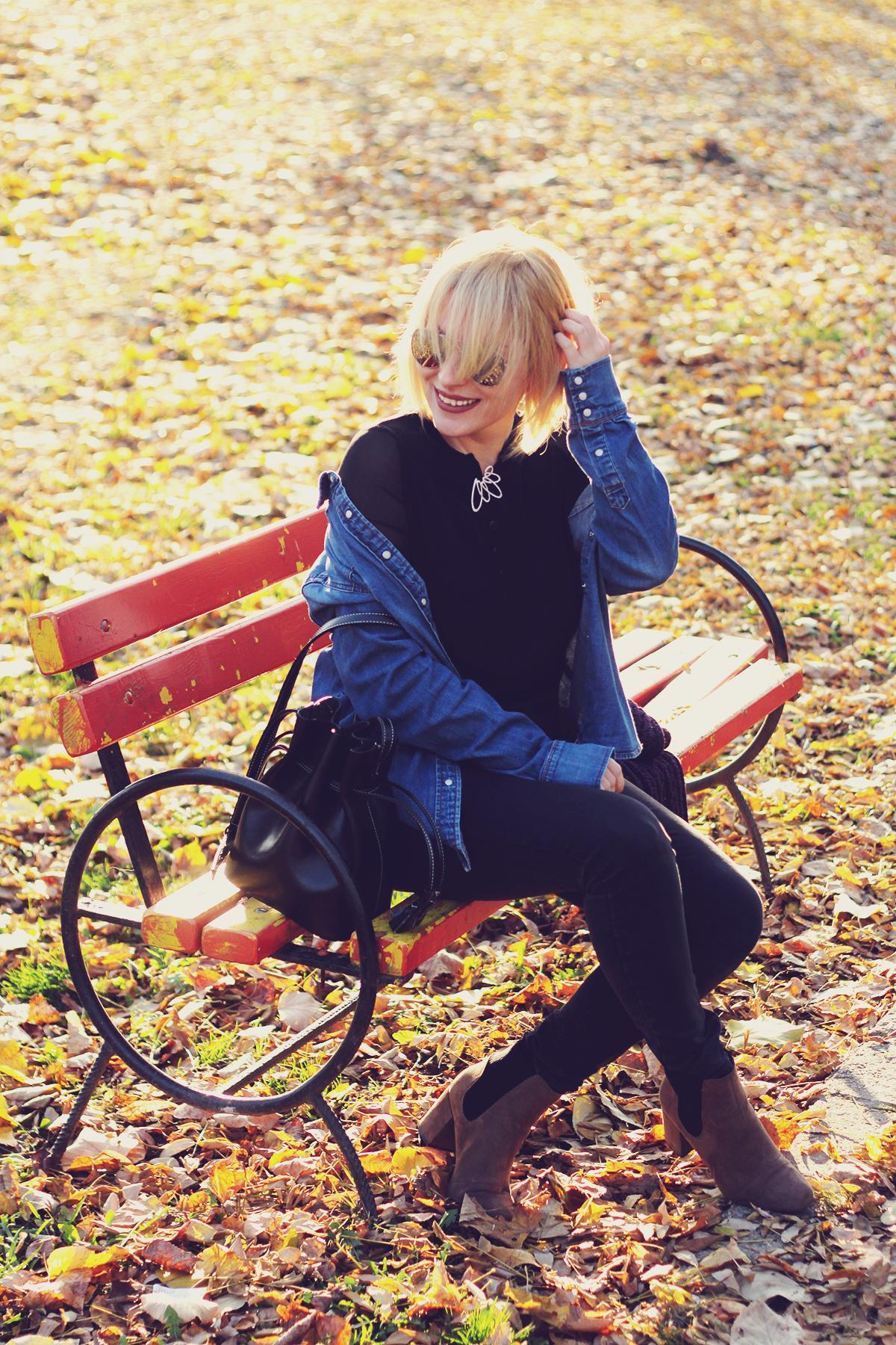 autumn, denim shirt, swarovski vintage brooch, jeans, boots, fashionmia black top, bucket bag, aviator mirror sunglasses, blonde bob