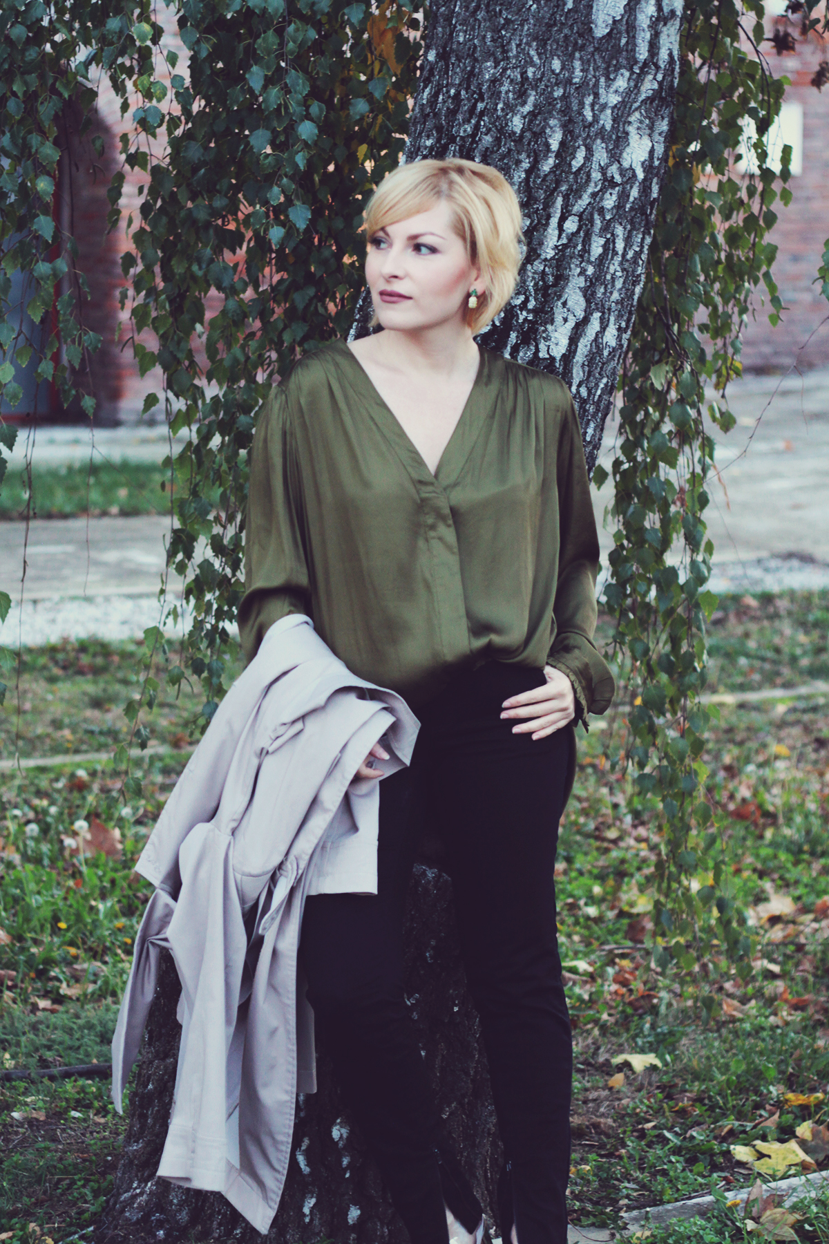 trench coat, loose green H&M Conscious top, stella mccartney pants