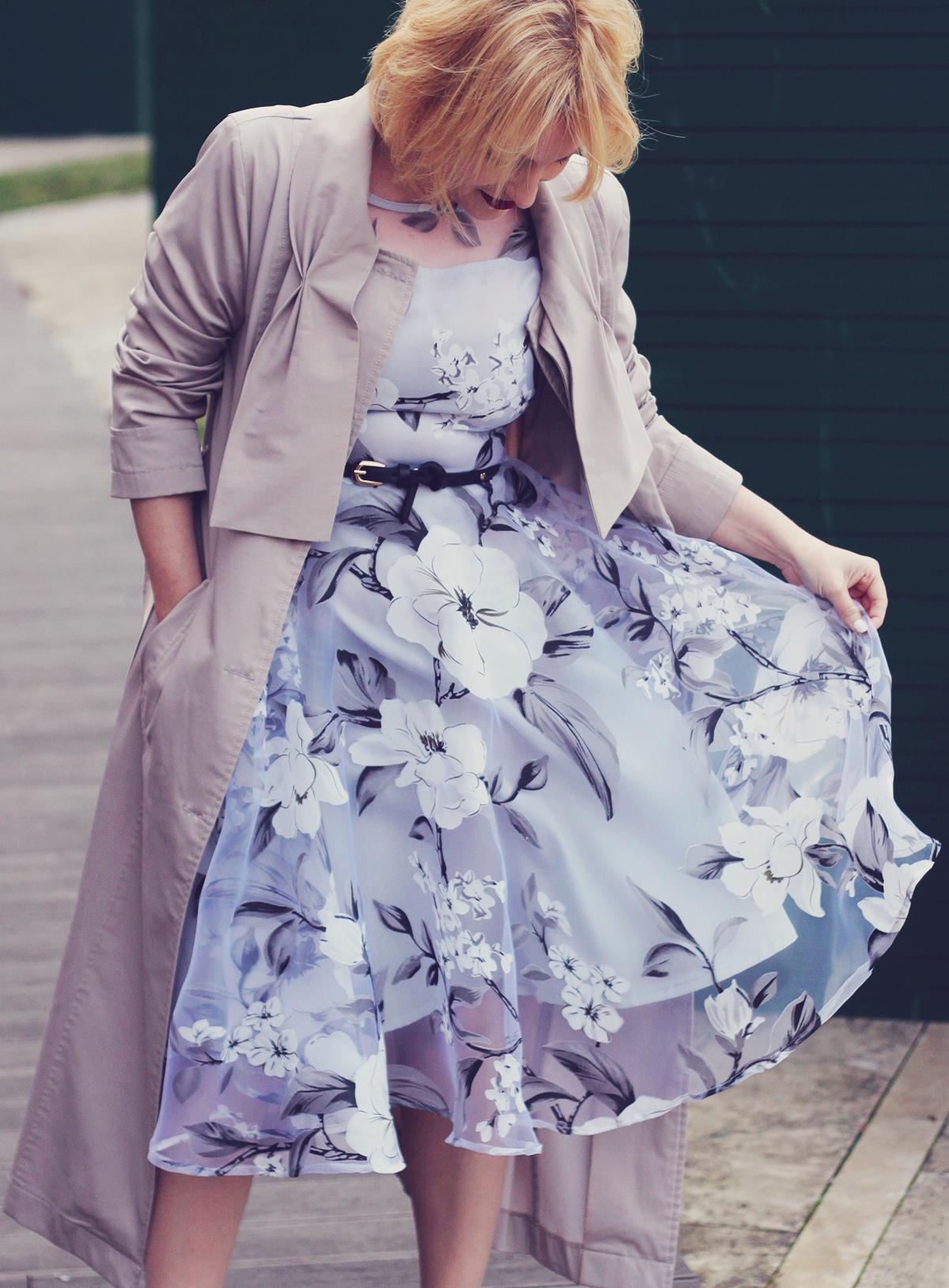 winter fashion, fashionmia sheer floral dress, long trench, belt, white pumps