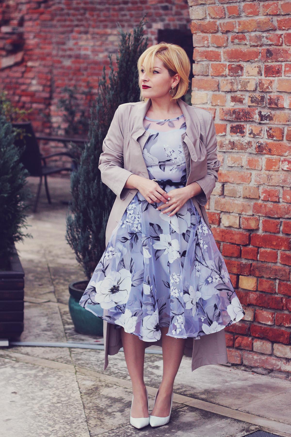 winter fashion, fashionmia sheer floral dress, long trench, belt, vintage fendi earrings, white pumps