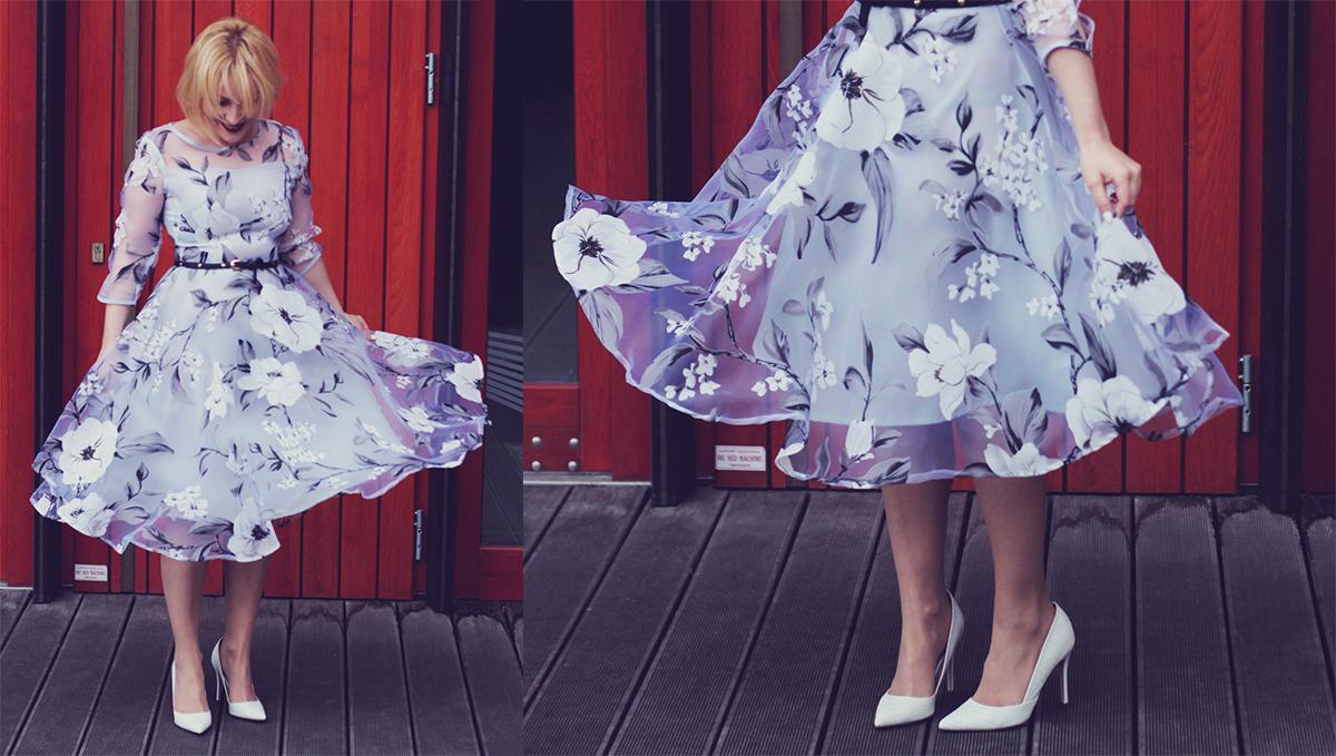 winter fashion, fashionmia sheer floral dress, belt, vintage fendi earrings, white pumps