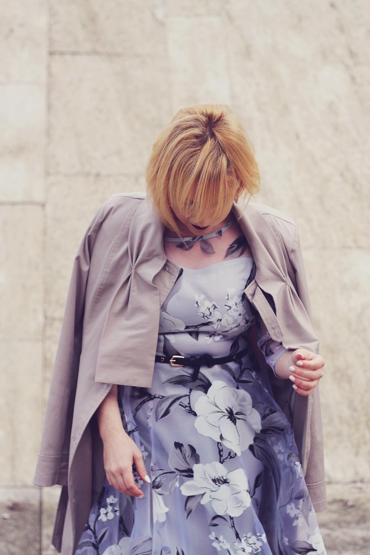winter fashion, fashionmia sheer floral dress, long trench, belt, vintage fendi earrings