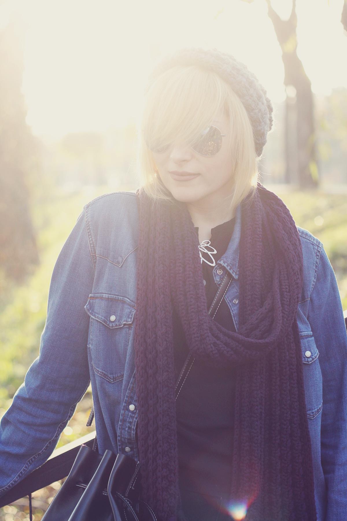 autumn, denim shirt,swarovski vintage brooch, knitted scarf and boho hat, fashionmia black top, bucket bag, aviator mirror sunglasses, blonde bob