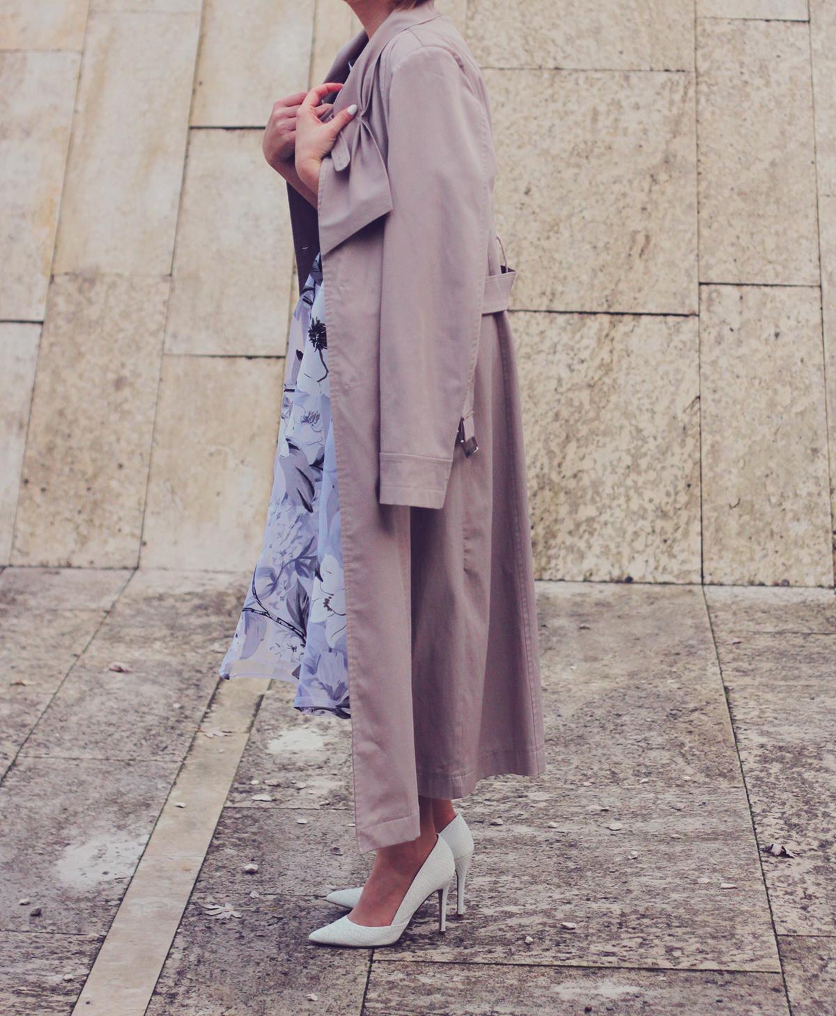 winter fashion, fashionmia sheer floral dress, long trench, white pumps