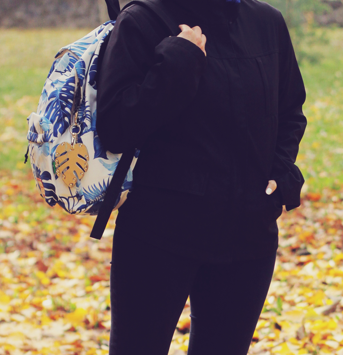 autumn, jeans, tropical leaf print backpack, navy jacket