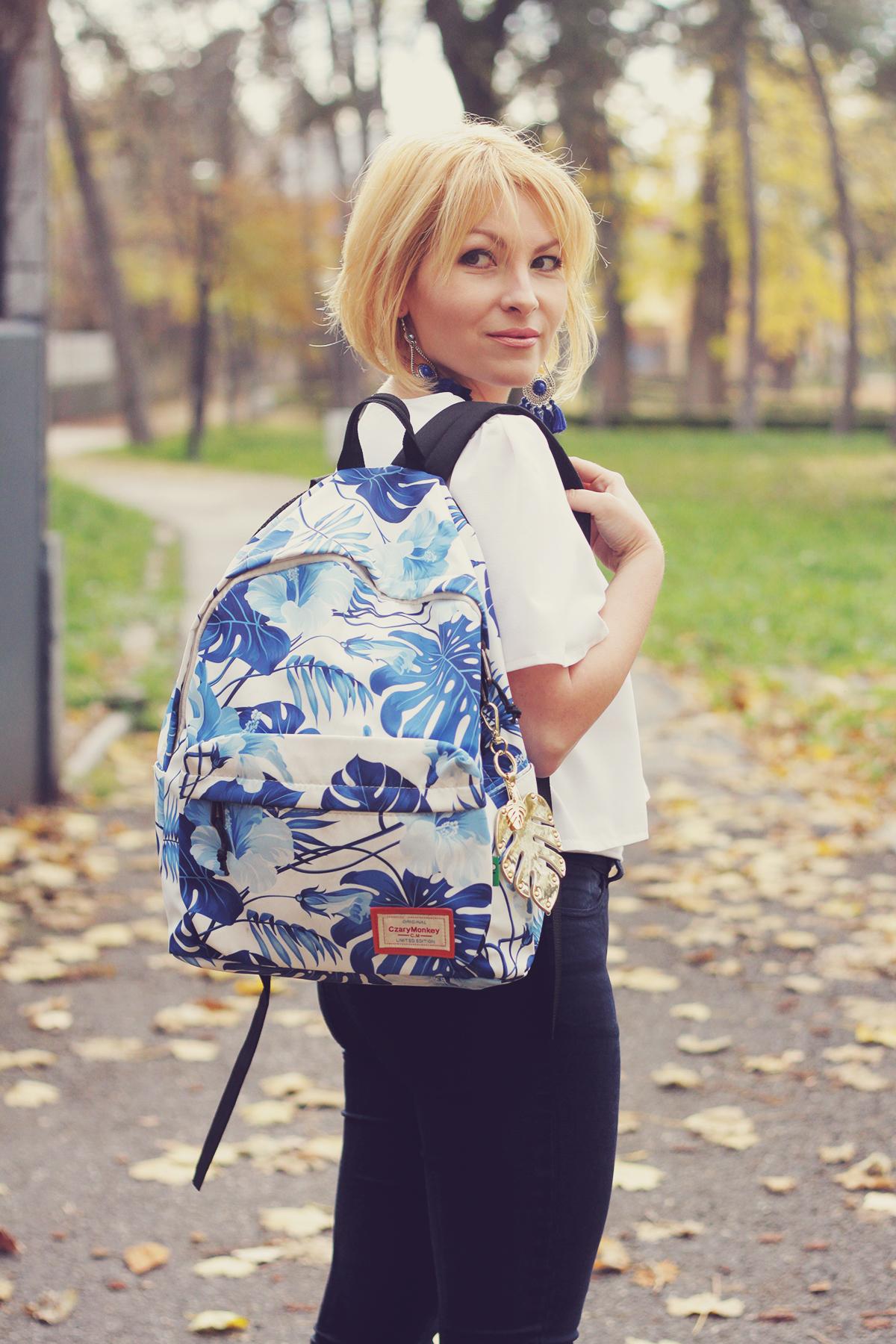 autumn, jeans, boots, tropical leaf print backpack, tassel earrings, white top
