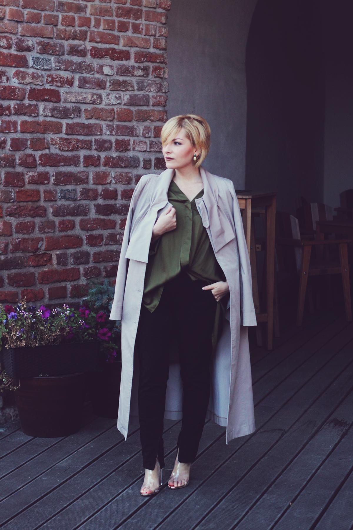 rosegal clear transparent boots, stella mccartney pants, long trench coat, green loose top, rosegal earrings