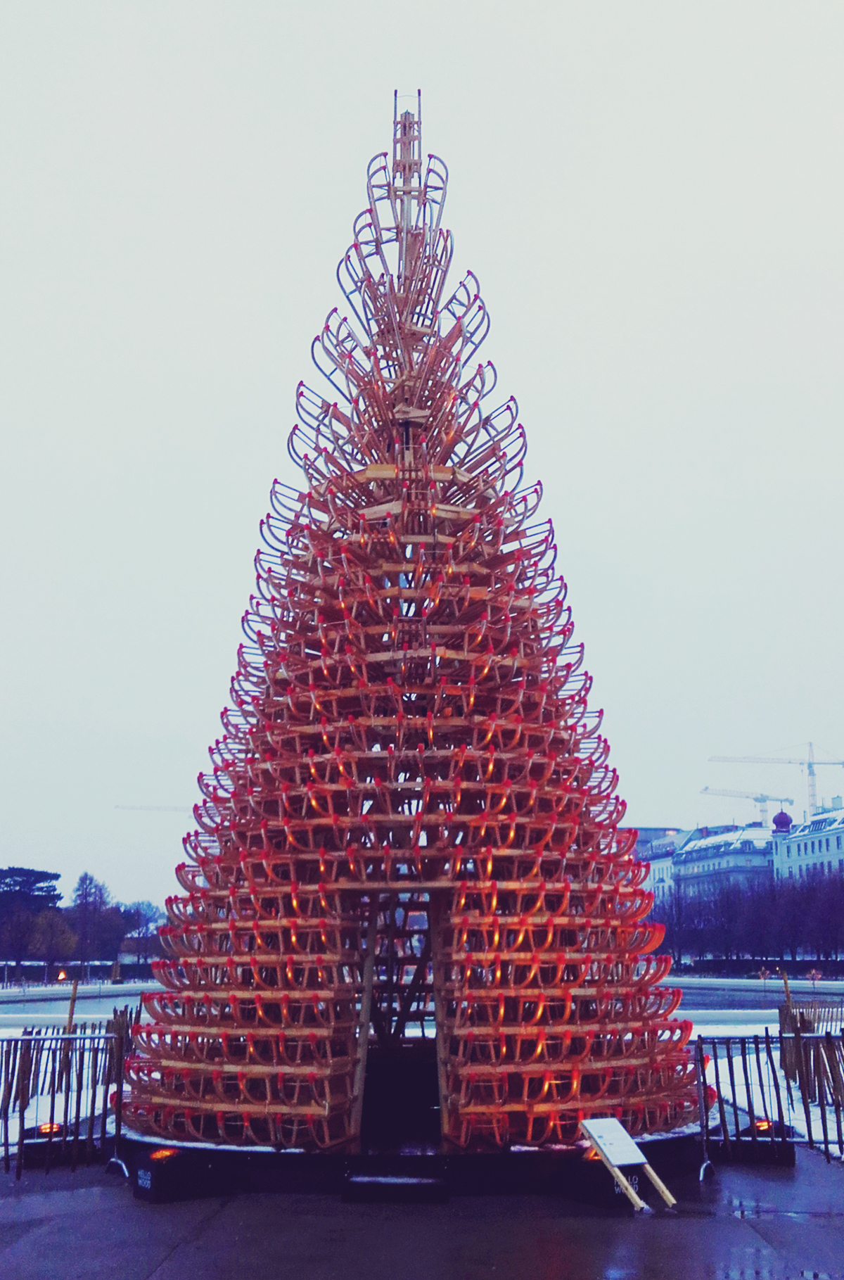 Vienna Christmas Market, creative Christmas tree made out of wood sleighs