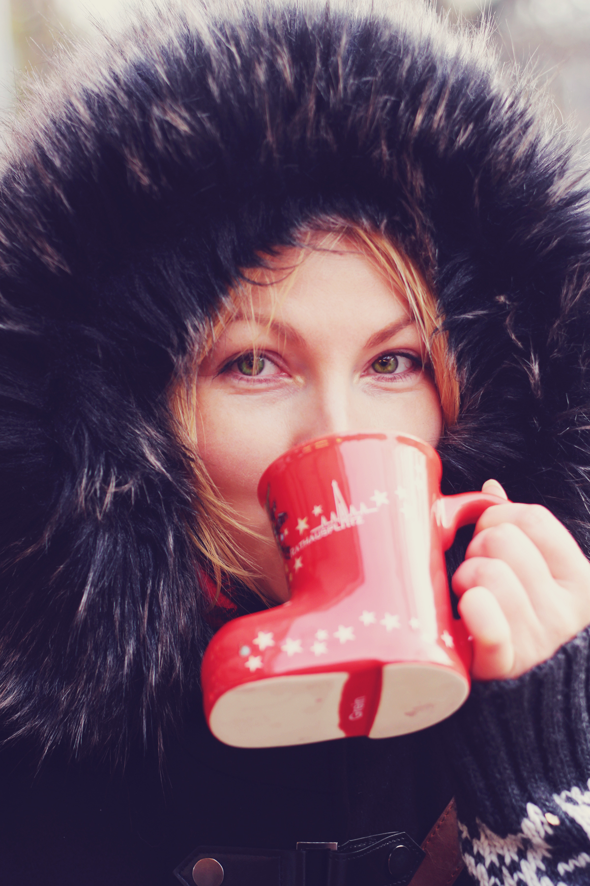 Vienna Christmas Market, me drinking mulled wine, faux-fur, winter, traditional austrian hot beverage cup