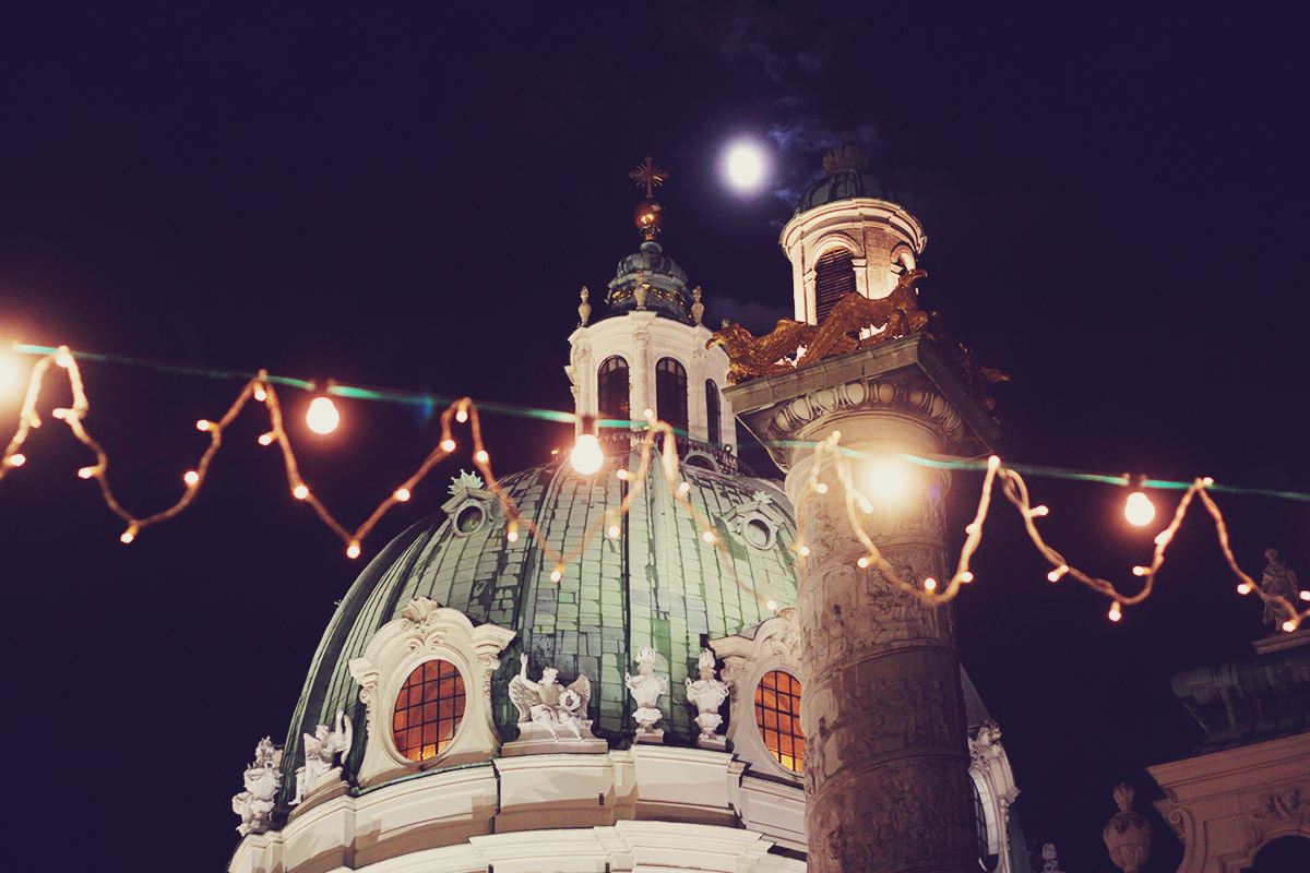 Vienna, Vienna Christmas Market, travel, Karlsplatz, night lights, Christmas lights