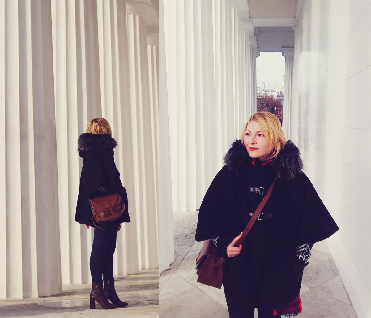 Vienna, winter, Theseus Temple, colonnades, winter coat, boots, jeans, winter fashion, travel