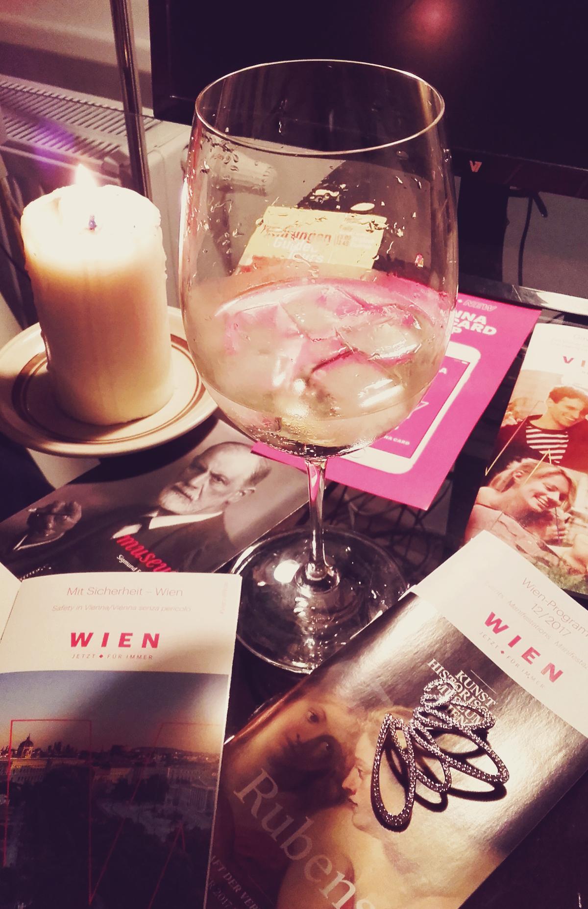 glass of sparkling wine, Vienna, travel, vintage Swarovski brooch