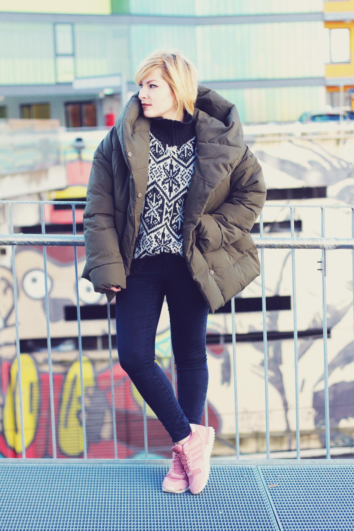 winter fashion, padded jacket, jeans, vintage Swarovski brooch, pink adidas originals, winter sweater, urban landscape, Vienna, graffiti