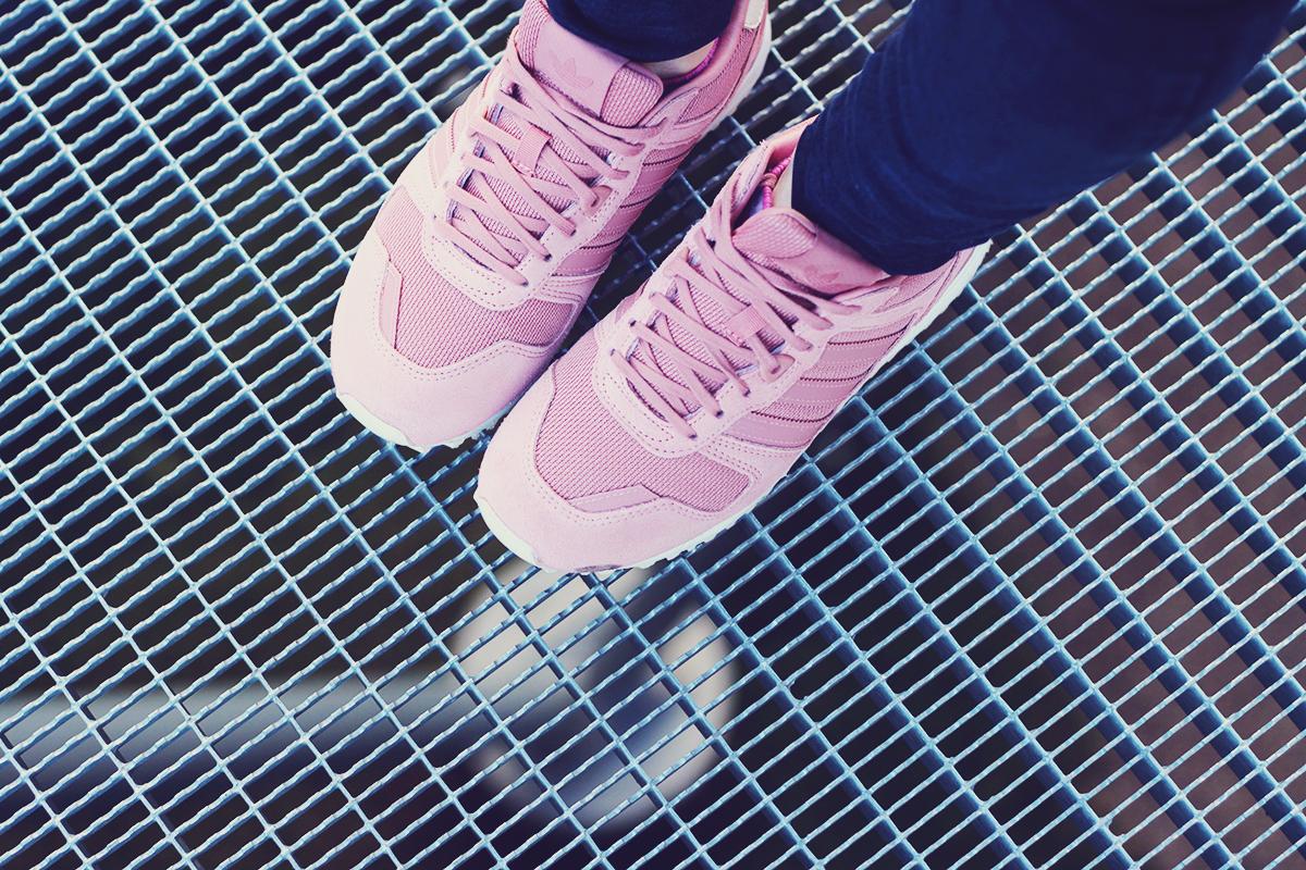 winter fashion, pink adidas originals, urban landscape, Vienna
