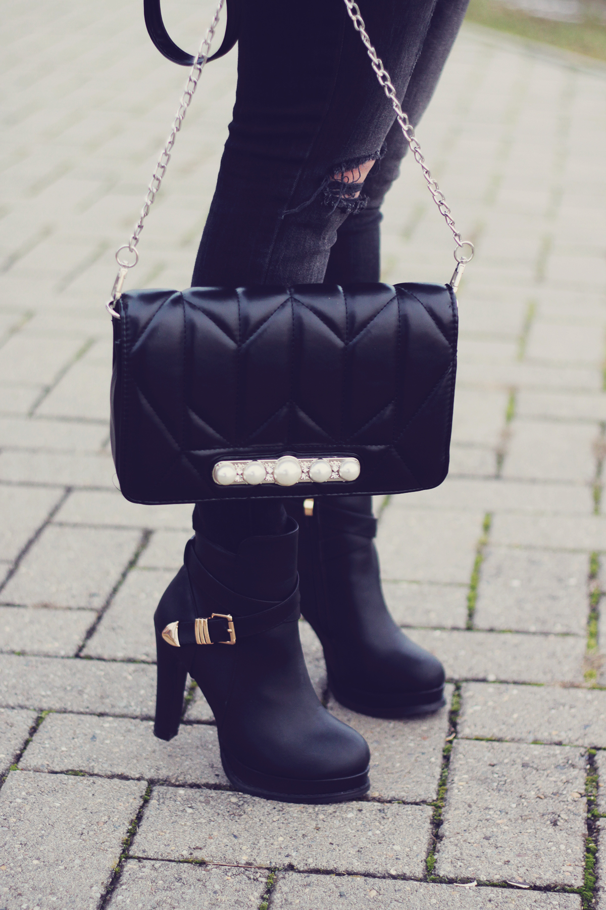 winter fashion, high boots, chevron bag with pearl detailing